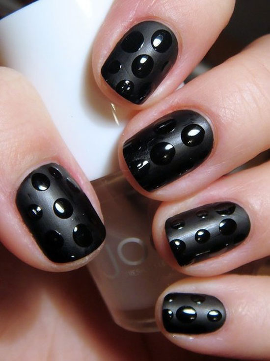 Black Sparkle And Al Notes Nail Art