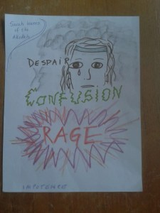 crayon drawing of Sarah crying with black cloud behind her, text: despair, confusion, rage