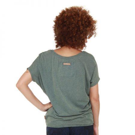 Achterzijde groene naketano top met wijde hals