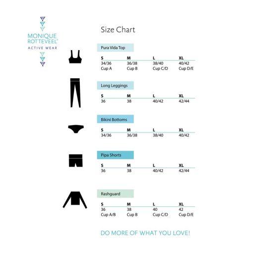 Size Chart Monique Rotteveel Active wear