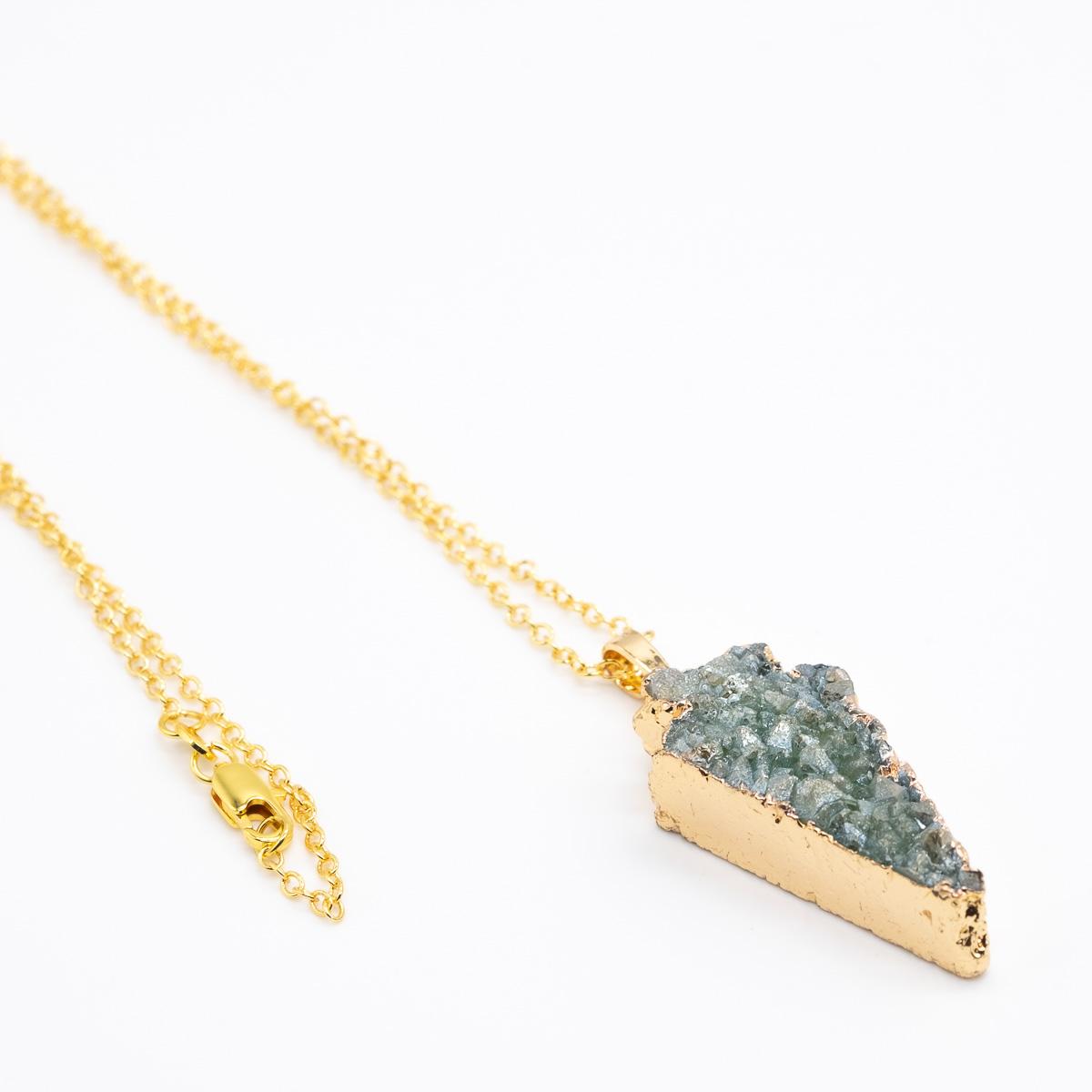HGR-004 groene agaat hanger kristal