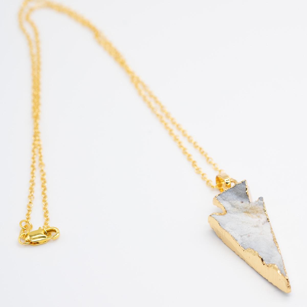 HGR-009 ruwe agaat gouden hanger