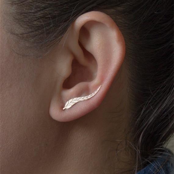 ORS-004 oorstekers lang blad goud-zilver