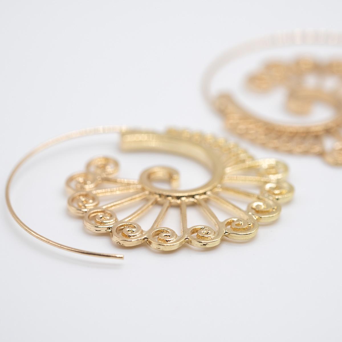 ORS-017 boho bohemian oorstekers goud metaal