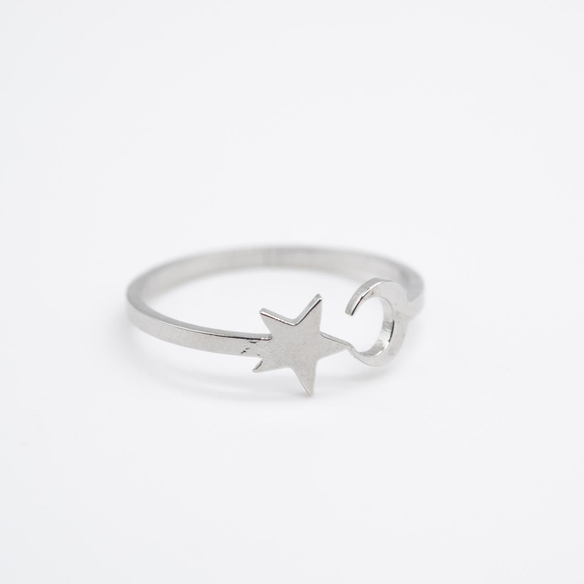RNG-007 boho ring zilver maan ster