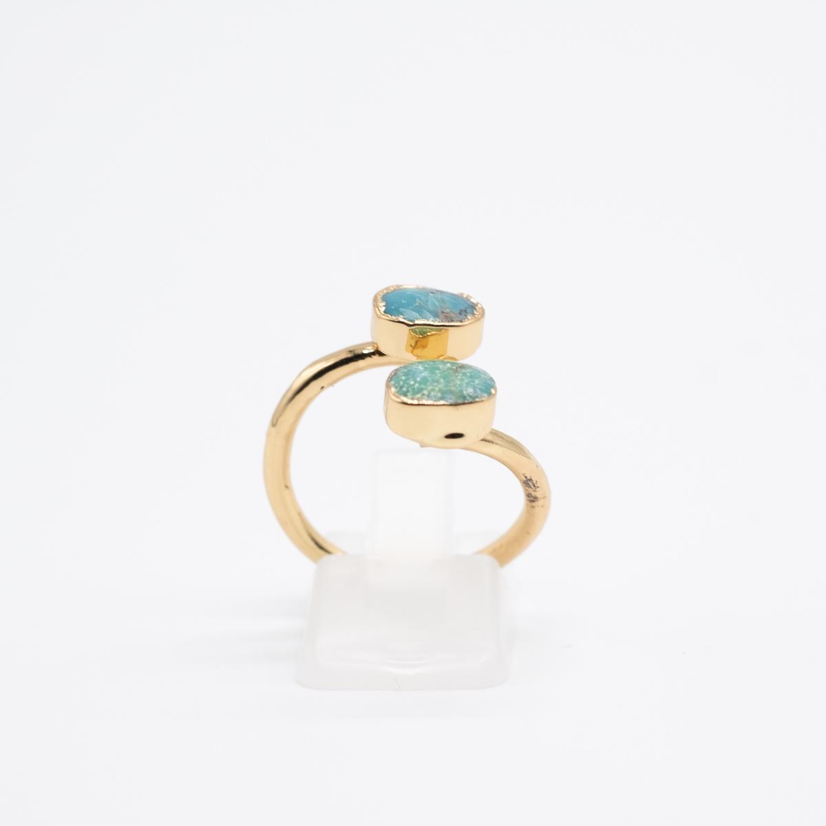RNG-010 blauwe ring turkoois boho