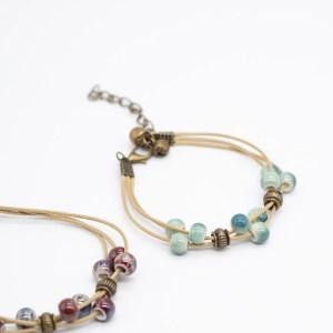 Bohemian armband belletjes kopen keramiek blauw groen