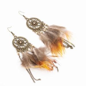 Dromenvanger veertjes bohemian oorbellen kopen