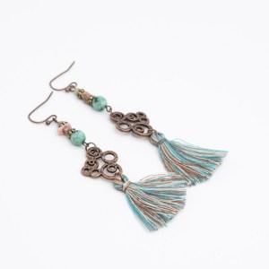 ibiza oorbellen met flosje en turkoois kopen