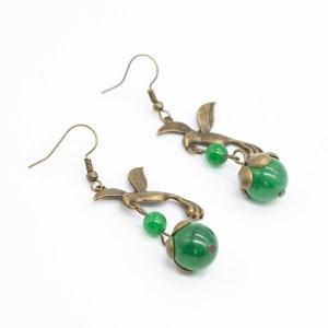 vintage oorbellen vogel met natuursteen kopen