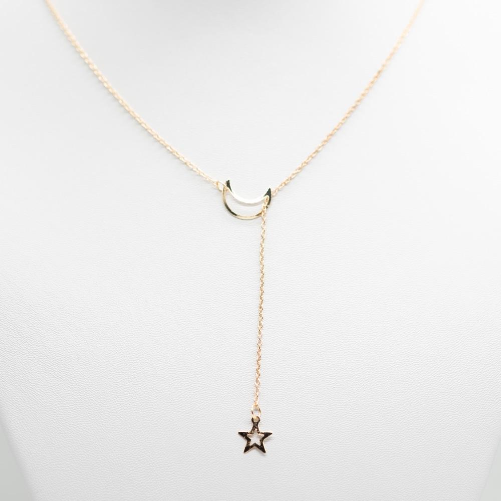 KET-024 maan ketting ster goud bohemian