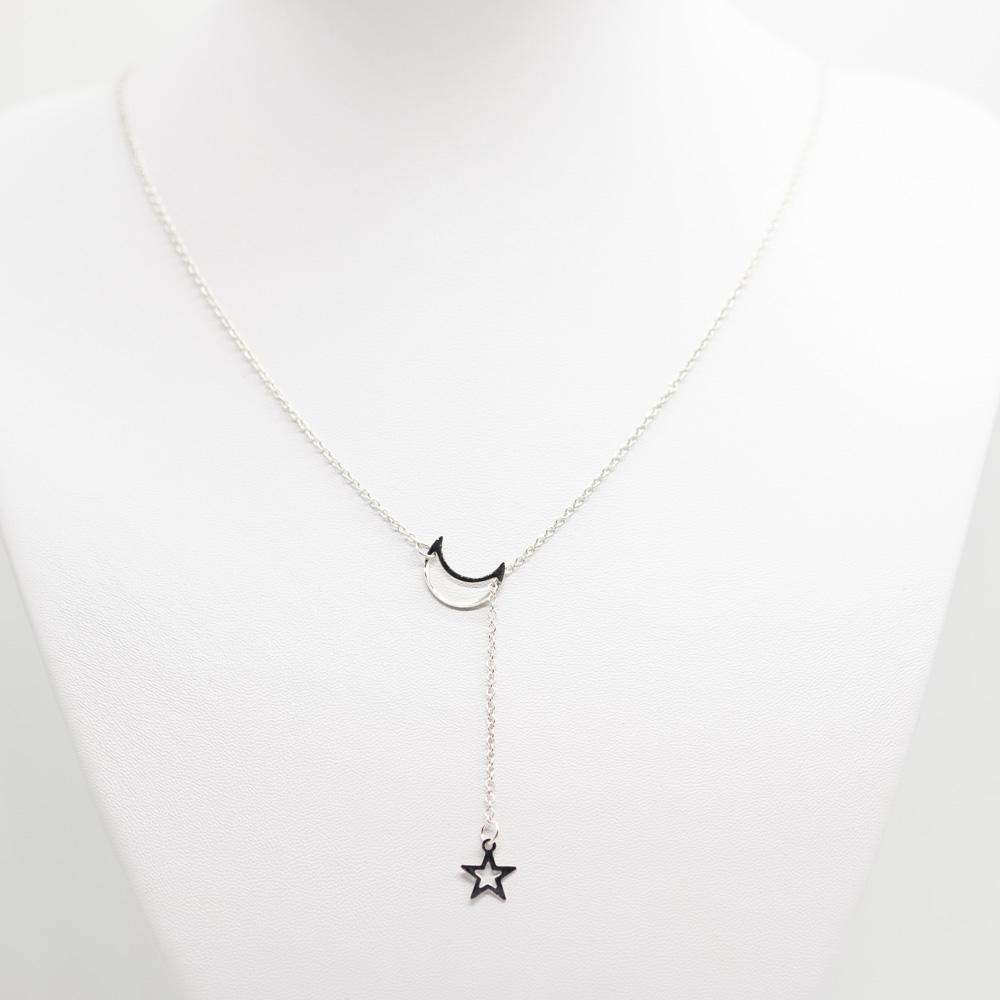 KET-024 zilver boho ketting maan ster