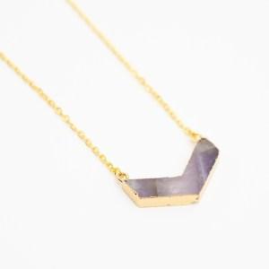 handgemaakte ketting met amethist goudfolie