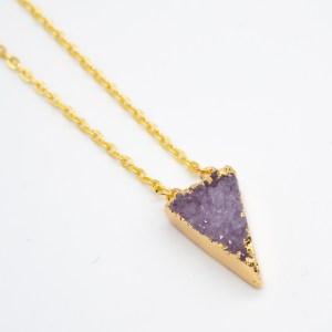 paarse agaat ketting handgemaakt goudfolie