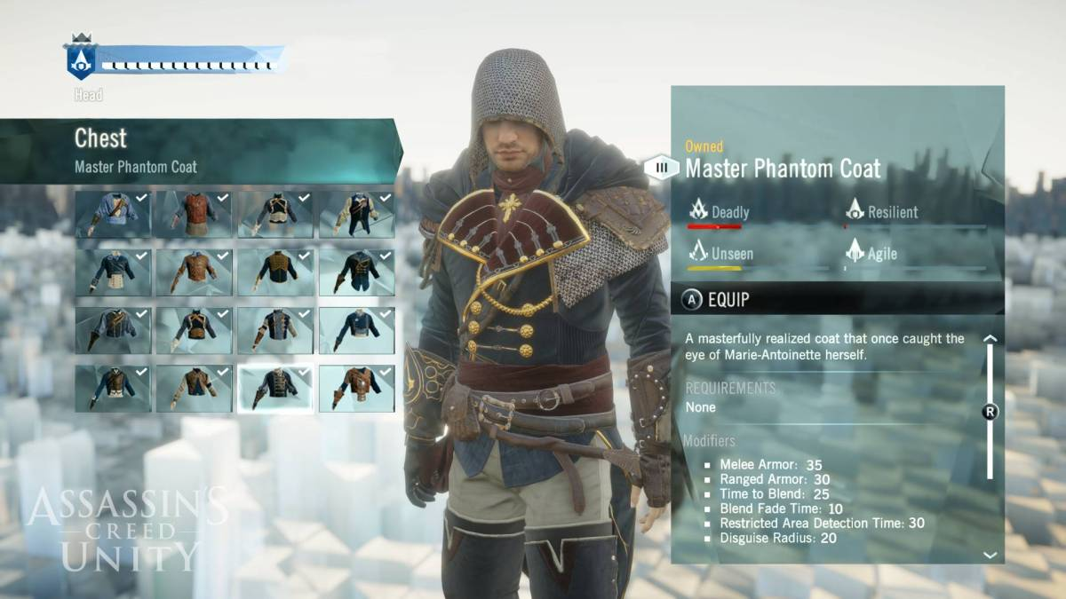 Customization - Assassin's Creed Unity Screenshot © Ubisoft