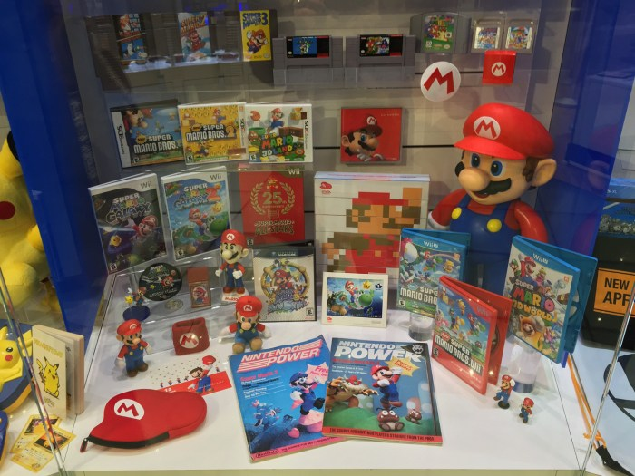 Super Mario Bros. display at the Nintendo World Store in NYC © Leah Jewer / Girls on Games