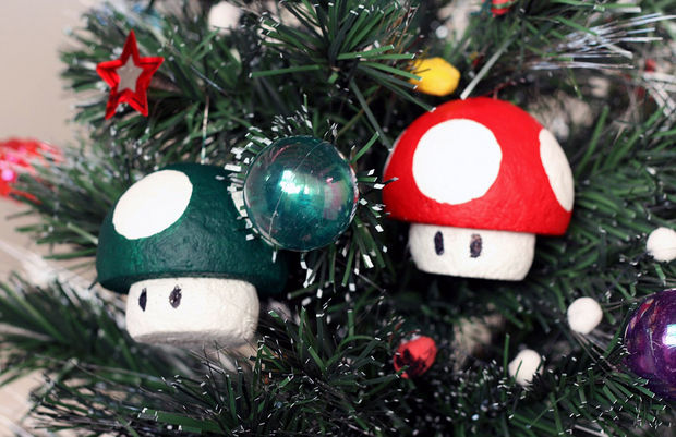 1-up and Super Mushroom Ornaments by scoochmaroo