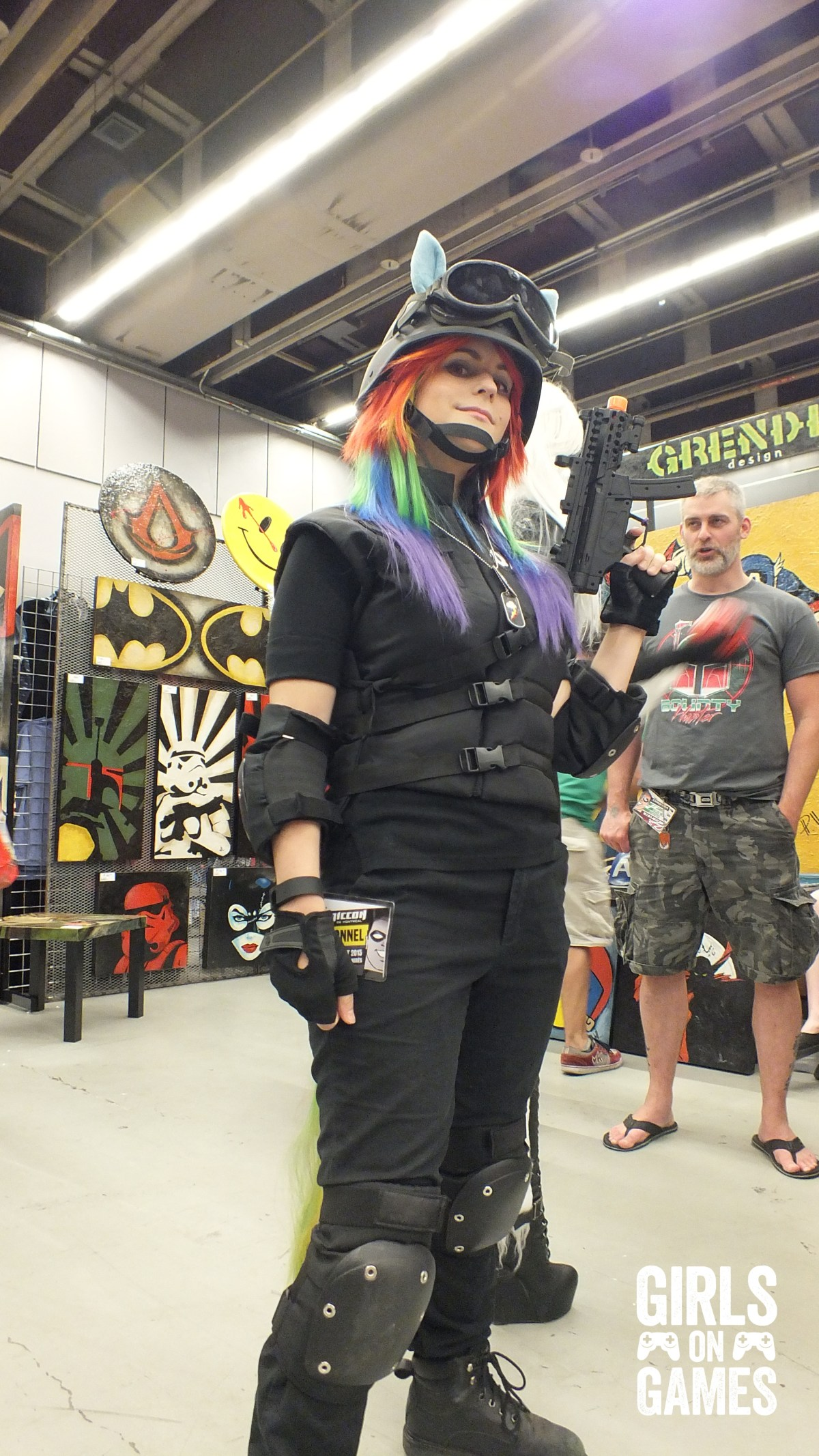 Rainbow Siege Dash cosplay at Montreal Comiccon 2015. Photo © Simon Marcoux / Girls on Games