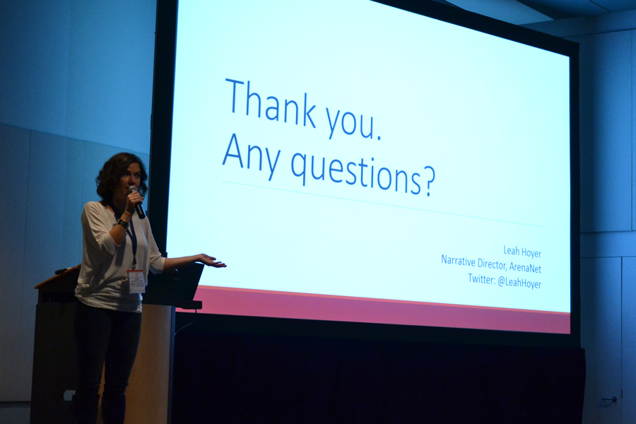 Leah Hoyer, Narrative Director at ArenaNet giving a conference at MIGS14.