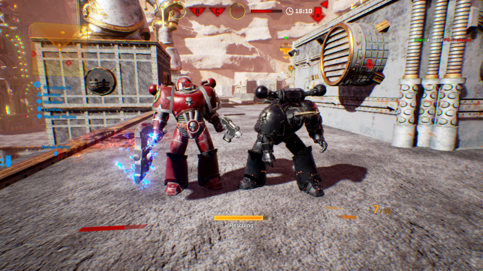 Helping up a fallen teamate (captured in game)