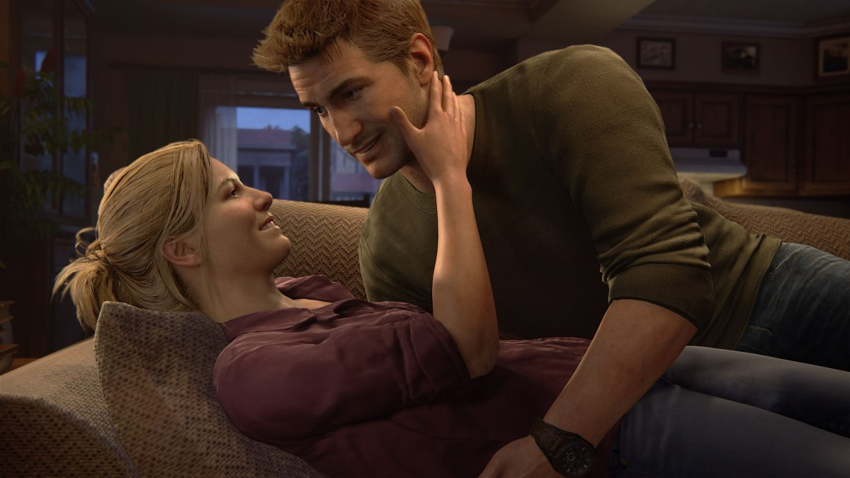 Romantic time for Nathan and Elena from Uncharted 4: A Thief's End. Image from Sony