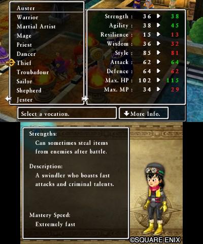 Dragon Quest VII Screenshot: Class System