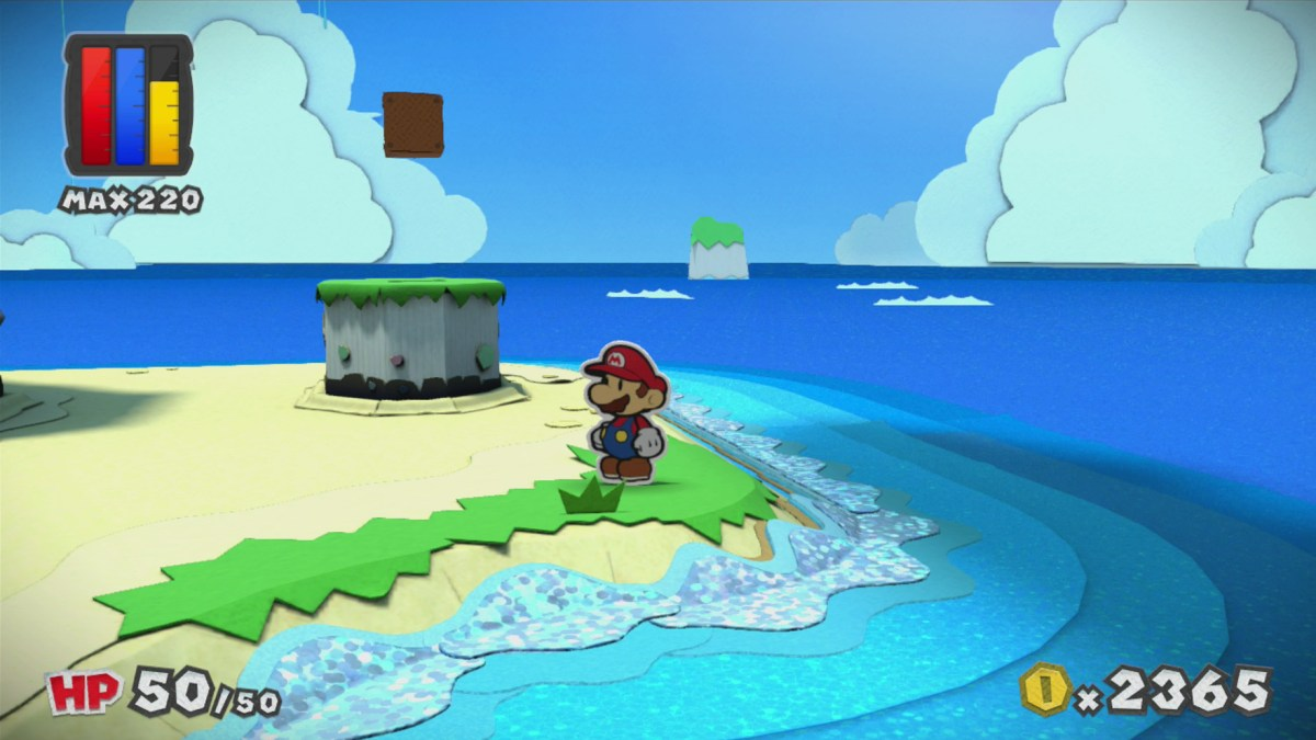 Paper Mario: Color Splash Water. Screenshot by Leah Jewer