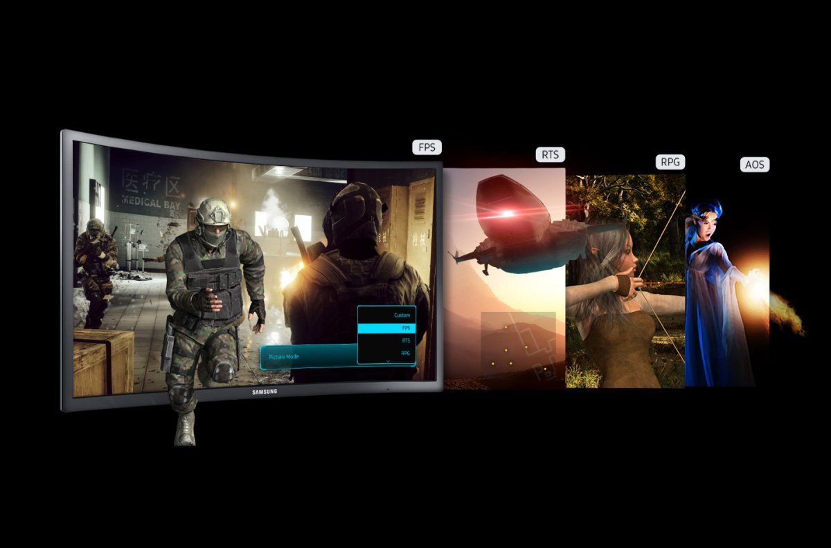 """Samsung demo of game modes for 24"""" CFG70. Image from Samsung"""