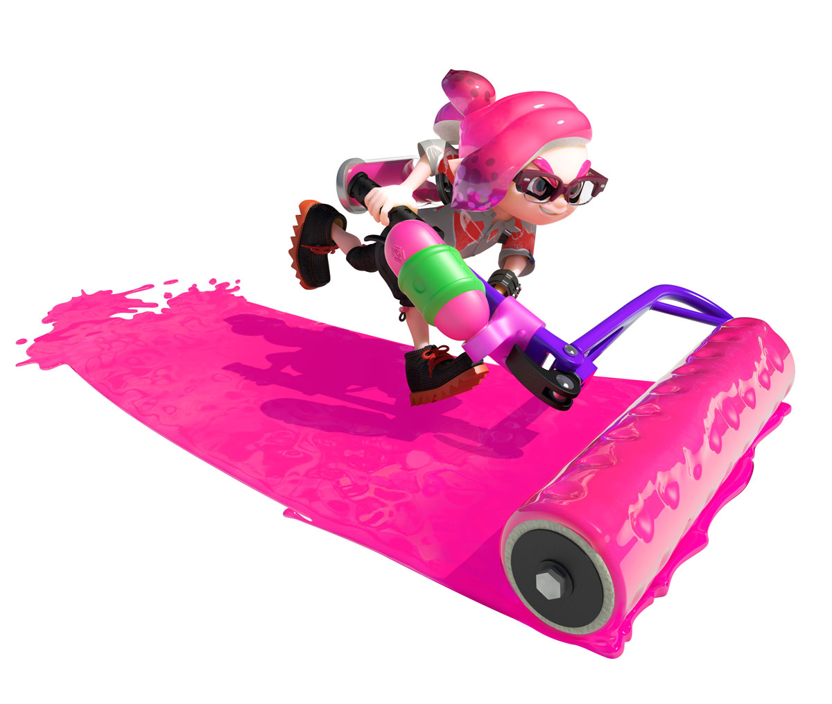 Splatoon 2 Inkling with a paint roller. From Nintendo