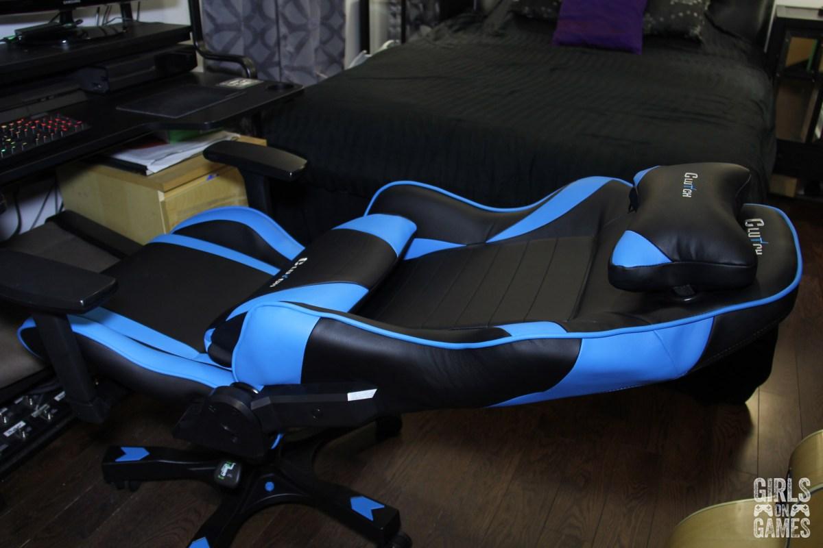 ClutchChairz Gear Series Alpha Blue at max recline
