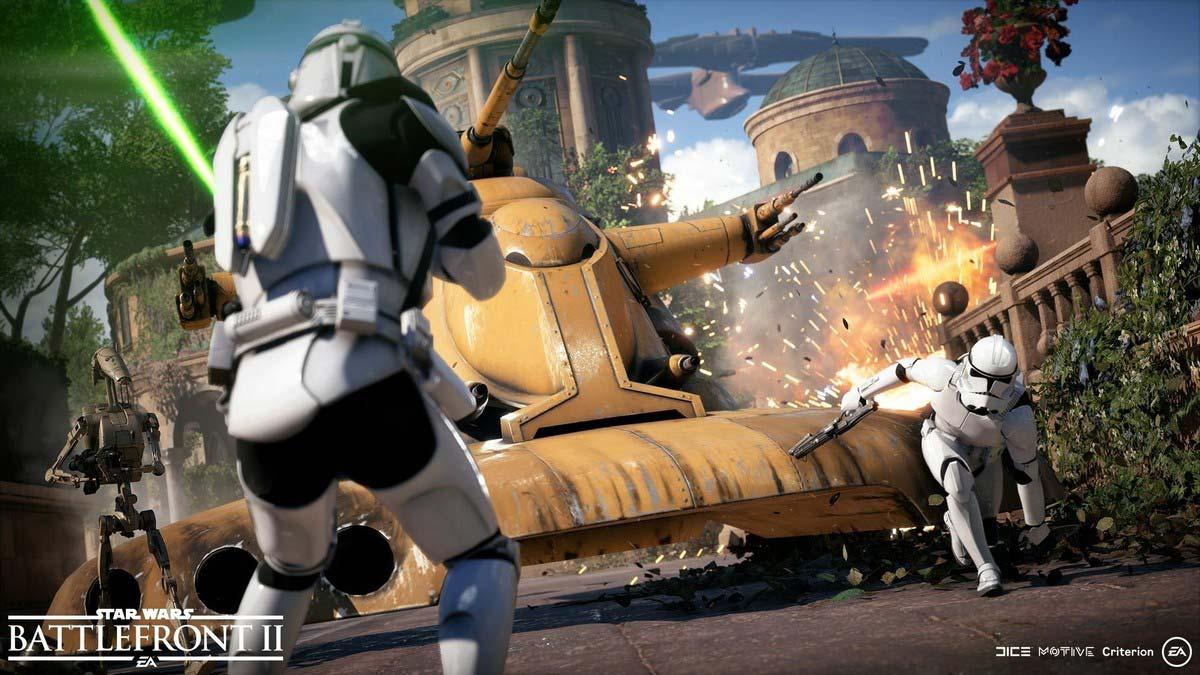 Fighting on Naboo in Star Wars Battlefront II