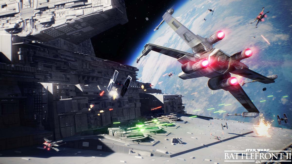 TIE fighter and X-wing combat in Star Wars Battlefront II