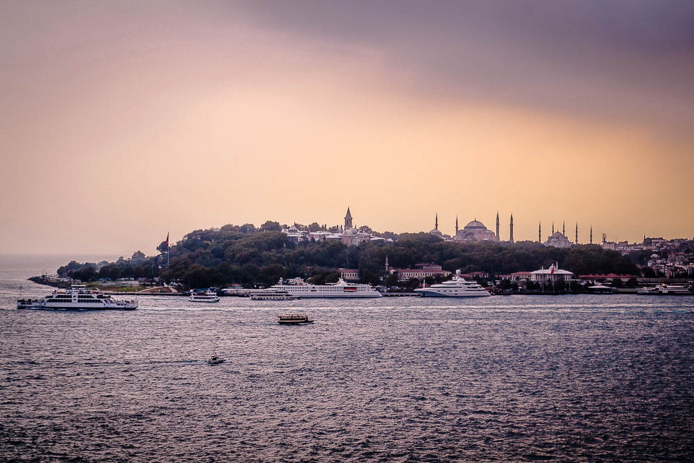 Stunning View of Istanbul from the Bosphorus Strait at sunset