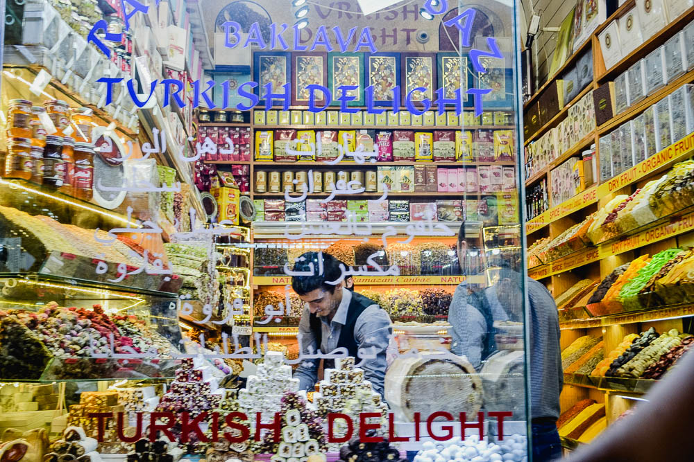 Shop in the Grand Bazaar selling many types of Turkish Delight