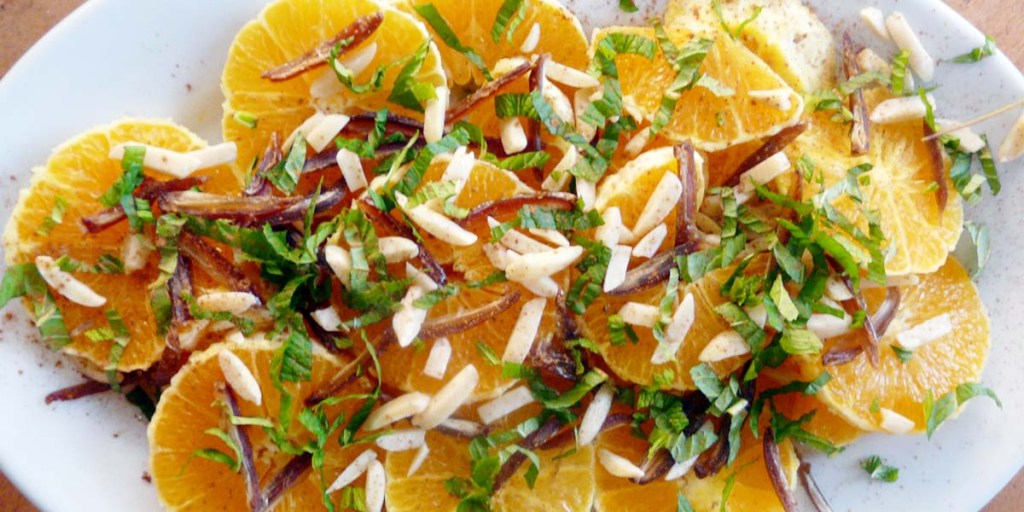 foods for healthy skin - Lhzina Moroccan orange and olive salad