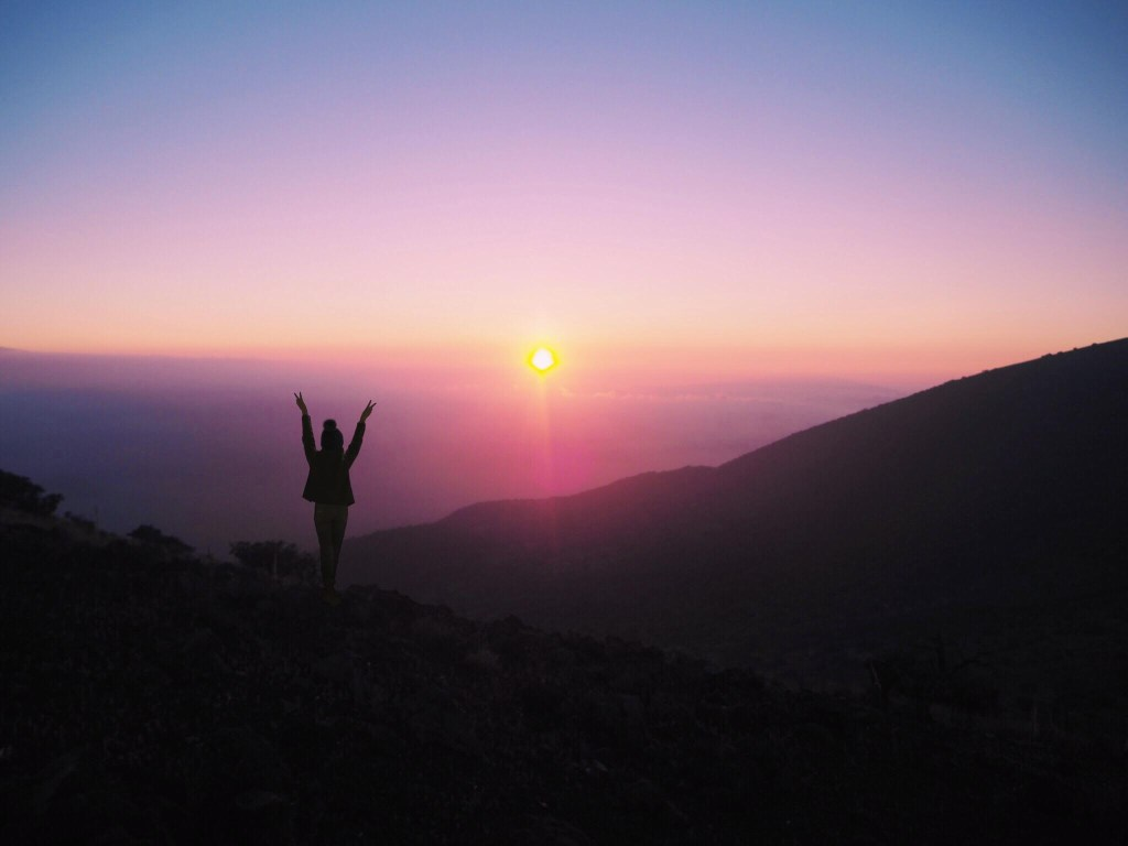 happy girl lifting arms up in front of purple sunset skies