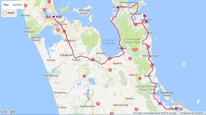 Itinéraire voyag dans le Coromandel en Nouvelle-Zélande