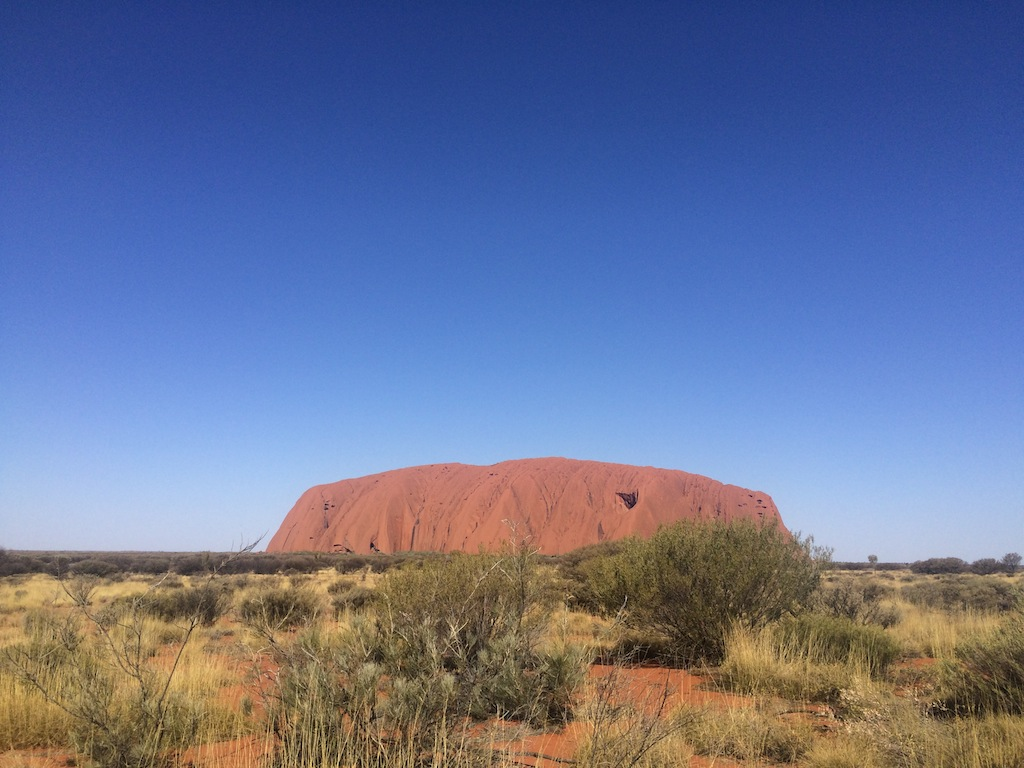 Uluru as viewed from the first viewing platform inside the National Park