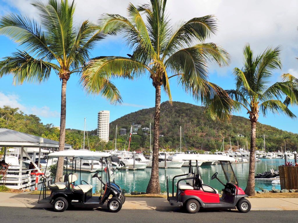 Golf buggies are the main mode of transport on Hamilton Island