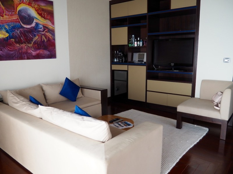 Living area with extensive mini bar and wine cellar