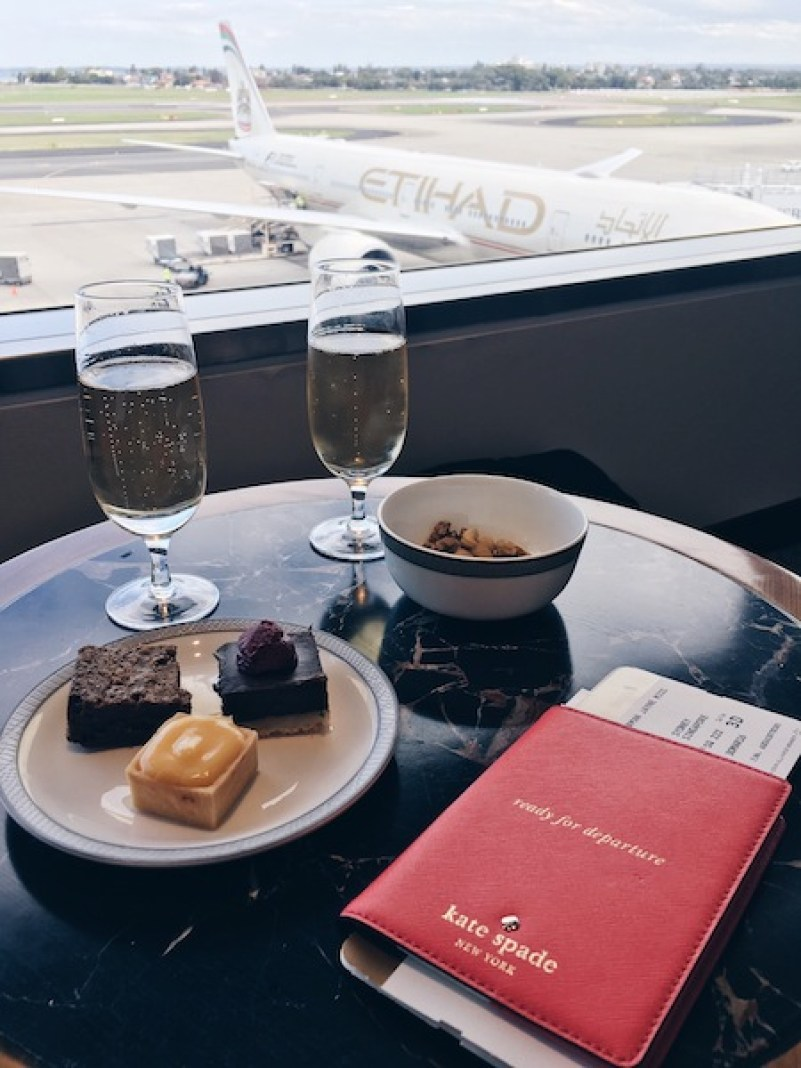 Veuve Champagne and sweet treats at Singapore Air First Class Lounge Sydney Airport