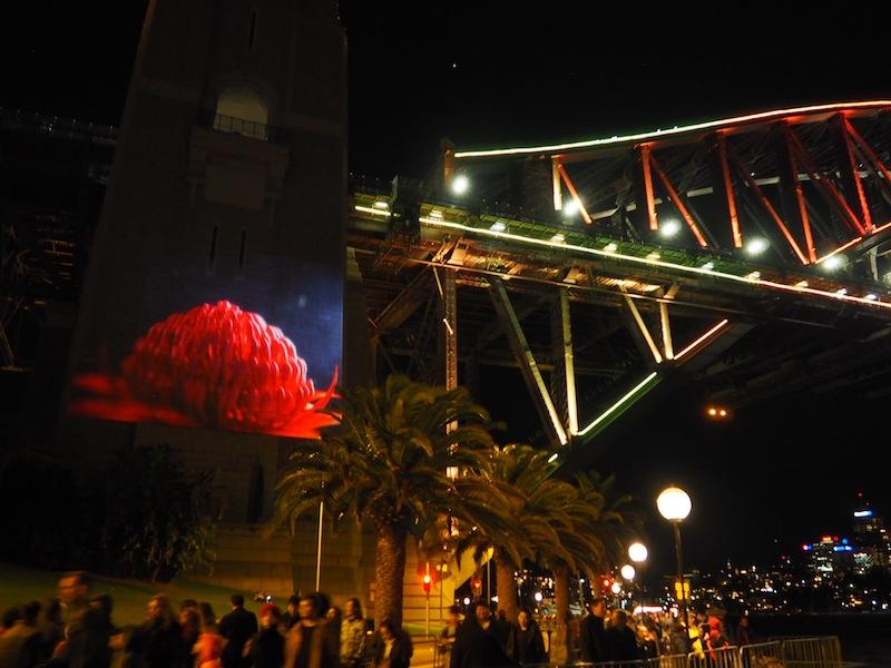 Dancing figures on the south pylon of Sydney Harbour Bridge