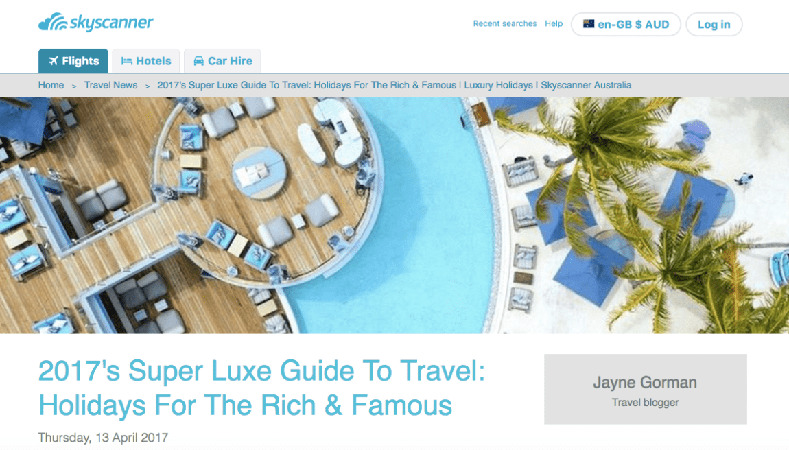 Skyscanner Luxe Guide To Travel 2017