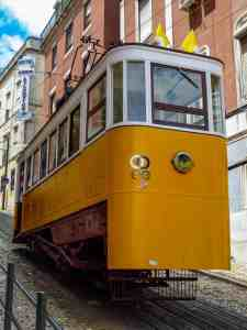 The Gloria Funicular. One of the three funiculars that you'll find in Lisbon.