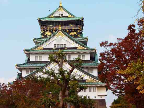 One of the many beautiful castles you'll find in Osaka, Japan.