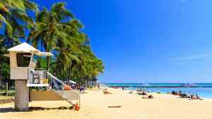 One of the many fabulous beaches that you'll find in Honolulu, Hawaii.