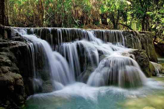 Some of the amazing waterfalls you'll see in Luang Prabang, Laos.