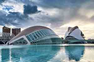 The beautiful modern architecture of the Ciudad de Artes in Valencia, Spain.
