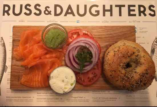 Behold the culinary deliciousness of Russ & Daughters iconic bagel and lox.