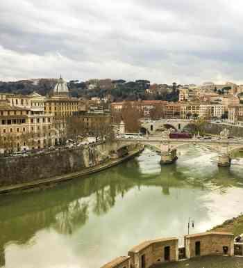 The Tiber River in Rome, Italy.